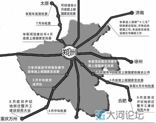 """目前,我省政府正大力向国家有关部委争取郑州米字高铁规划,其枢纽地位显而易见。而郑徐、商合杭以及未来的京九高铁的建设,对于商丘高铁枢纽的形成,将起到决定性的作用。2020年以前,在河南省能够看得见的高铁枢纽就两个,一个是郑州,另一个就是商丘。而未来,途经商丘的三条高铁项目一建成,就可以始发高铁。至此,商丘将成为仅次于郑州的高铁枢纽""""新贵""""。"""